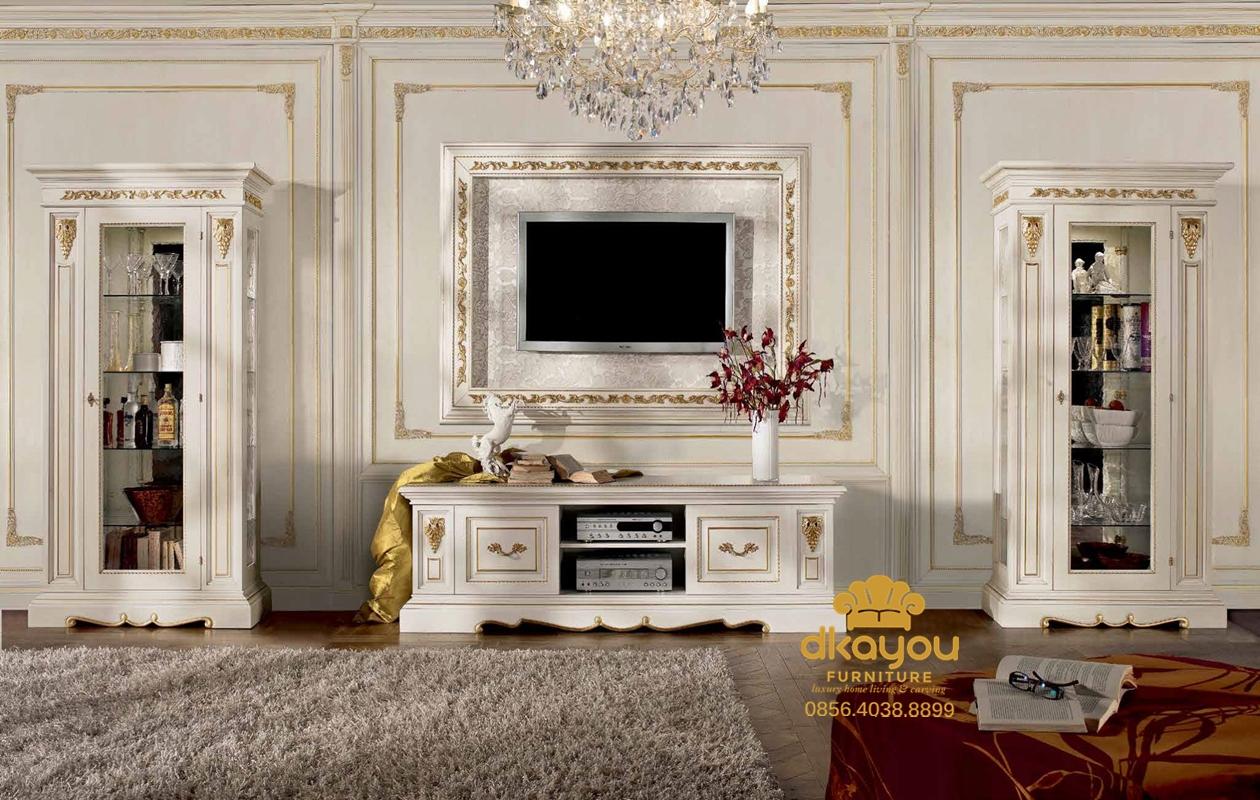 harga 1 set bufet tv modern duco putih terbaru