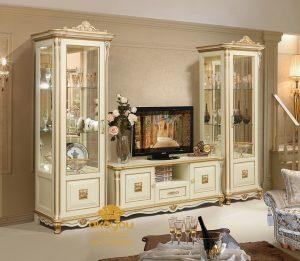 Set Bufet Tv Mewah Klasik Duco Putih Jati BTV-041 DF