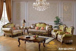 Set Sofa Mewah Klasik Kursi Tamu Jati Jepara SSRT-128 DF