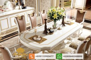Set Meja Makan Klasik Mewah Duco Italian Furniture SMM059