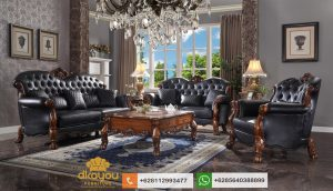 Set Sofa Jati Mewah Klasik Terbaru Acme Black Leather SSRT218