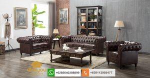 Set Sofa Chesterfield Kulit Desain Ruang Tamu Direktur SSRT226