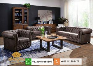 Set Sofa Chesterfield Leather Kursi Tamu VIP Ruang Direktur SSRT227