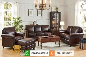 Set Sofa Klasik Modern Genuine Leather Ruang Tamu Direktur SSRT228