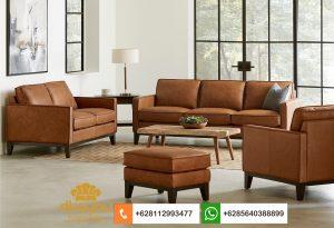 Set Sofa Minimalis Modern Original Brown Leather SSRT232