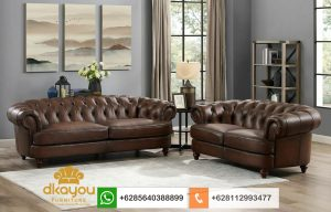 Set Sofa Modern Chesterfield Genuine Leather SSRT230