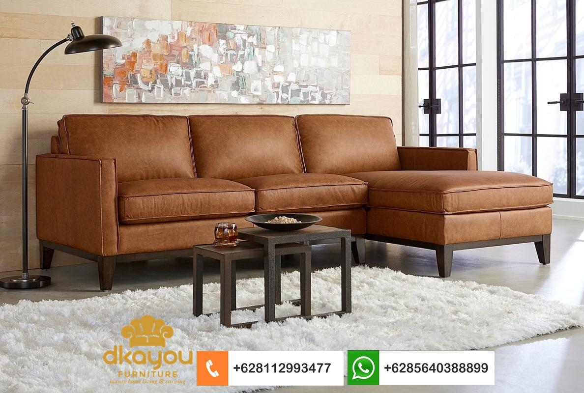sofa l modern kulit sapi