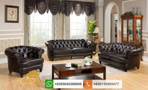 Set Sofa Tamu Mewah Modern Genuine Leather Chesterfield SSRT231